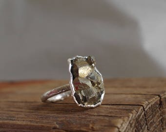 Pyrite Ring Raw Mineral Sterling Silver Ring  Raw Stone Jewelry Fools Gold