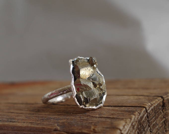 Pyrite Sterling Silver  Ring Raw Mineral