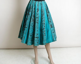 Vintage 1950s Mexican Circle Skirt - Sequin Aztec Print - Turquoise Teal Blue and Black - Cotton Wrap Souvenir Skirt with Pockets - small