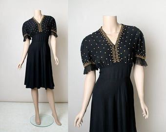 RESERVED - Vintage 1940s Dress - Black Gold Studded Evening Dress - Rayon - Puff Sleeve with Ruffle Lace - Date Night - Small