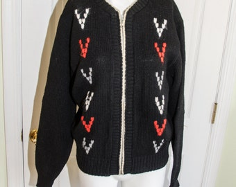 Vintage 1950's Black Wool Knit Woman's Zipper Cardigan