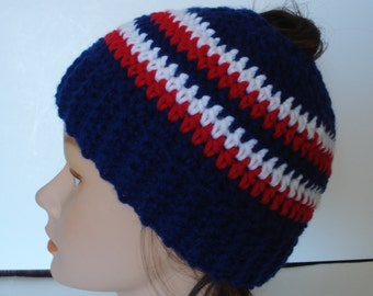Navy, Red & White Team Colors  Messy Bun Beanie Ponytail Hat READY TO SHIP!