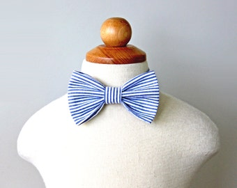 Navy Seersucker Bow Tie for Baby, Toddler and Kid, Spring and Summer