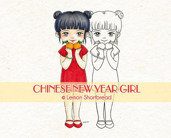 Digital Stamp Chinese New Year Girl, Digi Asian Holiday, Mandarin Oranges, Card Making, Clip Art, Scrapbooking Supplies, Instant download