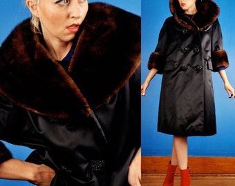 INCREDIBLE Vintage 50s Black Satin + Chestnut Brown MINK FUR Swing Coat George Carmel s/m/l/xl/xxl
