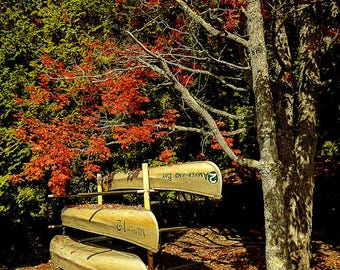 Canoe Photograph - Rustic Camp Decor - Autumn Art - Nature Photography - Autumn Leaf Print - Leaf Photograph - Home Decor - Living Room Art