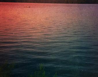 Sunset Photograph - Dreamy Abstract Art - Red Blue Purple - Water Photograph - Wall Art - Home Decor - Fine Art Print - Nature Photogrpahy