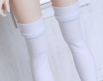 Minifee Doll  socks msd bjd clothes White band thigh high socks MonstroDesigns Ready to Ship