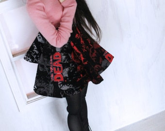 BJD MSD mini fee clothes Red Walking dead zombie print skater skirt Ready to Ship