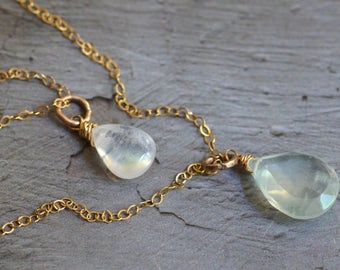 Double Strand 14kt Gold Necklace - Prehnite Necklace -Rainbow Moonstone Necklace -Gold Layer Necklace - Adjustable Necklace -Dainty Necklace