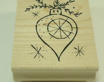 Christmas Ornament With Branch Wood Mounted Rubber Stamp By Great Impressions G240