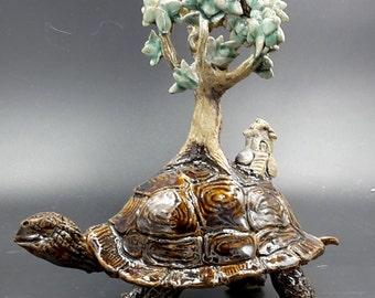 turtle figurine - tortoise world - Original porcelain sculpture
