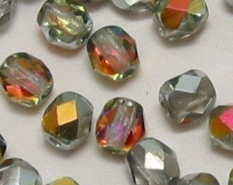 Czech Glass Firepolished Beads 4mm Round Crystal Marea 50 Pc. C60
