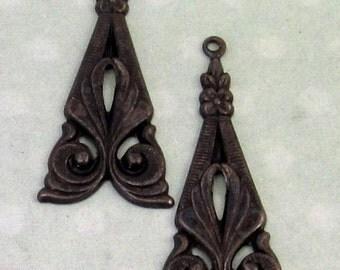 Art Deco Tamar Drop, Trinity Brass Matte Black, 2 Pieces, MB35