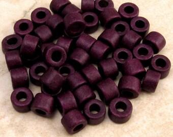 Mykonos Greek Ceramic Beads Mini Tube 6x4 mm Eggplant 50 Pieces M67