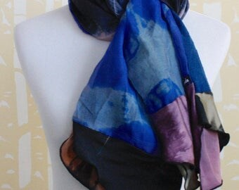 Decadent Double Layered Silk Collage Scarf in indigo, pink, and sapphire blue multi