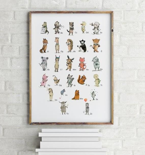 ENGLISH - Alphabet poster, nursery decor, alphabet animals poster, nursery wall art, alphabet print, nursery decor boy, kids room decor