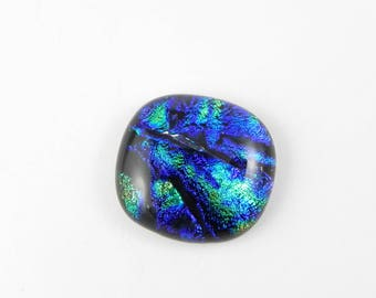 Dichroic Fused Glass Cabochon - Blue Green Yellow Black - 1755 - 24mm x 22mm