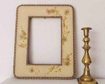 Large Antique Frame Antique Celluloid and Plaster Frame with Handpainted Flowers Cream and Gold Decor Cottage Chic Decor