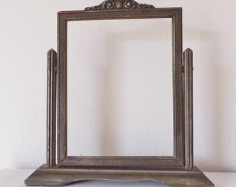 Antique Standing Frame Art Nouveau Art Deco Victorian Tilt Frame Swing Frame Victorian Assemblage Grey Frame Gray Frame Stand Alone Frame