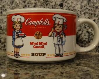 1998 Campbells Soup Mug, Chicken Soup Mug, Vegetable Soup Cup, Campbells Kids, Red & White Christmas Mug