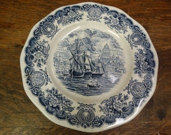 Vintage Historical Ports of England Blue China Dinner Plate, Nautical China, Sea, Sailing Ships, Blue & White China