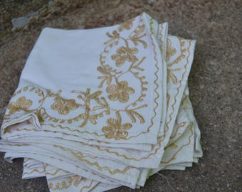 Set of 6 Vintage White and Gold Floral Embroidered Napkins