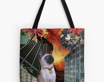 Tote Bag - Aries StarCat - zodiac astrological collage art for the cat lover and dreamer