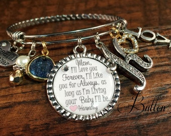Mom Gifts, GIfts for Mom Gold, PERSONALIZED jewelry, MIXED metal jewelry, Mother daughter jewelry, BANGLE bracelet, I'll love you forever