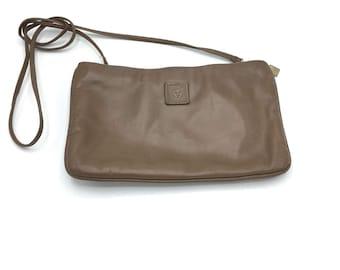 Vintage Anne Klein Handbag, Taupe Leather with Removable Strap, 1980's Shoulder Bag, Convertible Clutch
