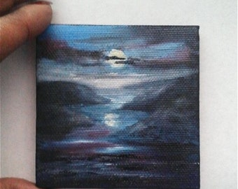 """Mini Oil Painting Moonlit Seascape with Mountains 3""""x 3"""" READY to SHIP"""