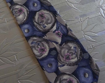 Vintage Necktie J Garcia Snail Garden Blue and Gray