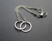 2 Interlocking Circles Bracelet, Sterling Silver Bracelet, Friends, Couples, Sisters Bracelet, Infinity Clasp Eternity Bracelet Gift for Her