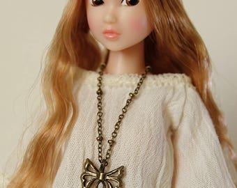 Lotus necklace  (round filigree) - Handmade jewerly for Momoko and 1/6 fashion dolls