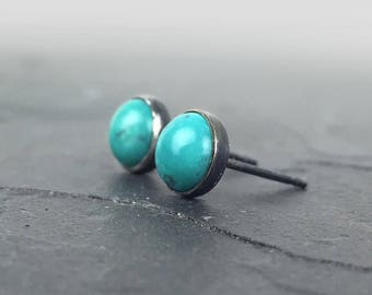 Turquoise Stud Earrings, Sterling Silver and Turquoise Posts, Bezel Set Earrings, Patina Finish