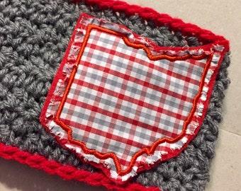 Women's // Crochet Headwrap // Headband // Earwarmer // Ohio Plaid / Red // Handmade