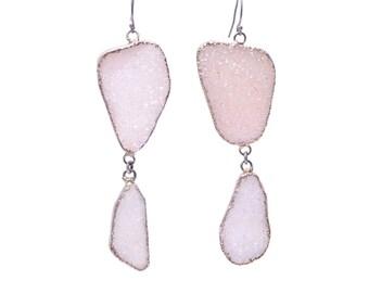 SALE!! White Freeform Druzy Statement Dangle Earrings in Silver