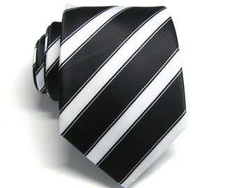 Mens Tie. Black and White Stripes Mens Necktie With Matching Pocket Square Option