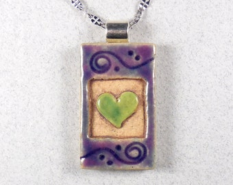 "Heart Necklace, Stoneware Miniature Tile ~ Black ~ Purple ~ 20"" Stainless Steel Chain"