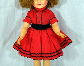 Ideal Shirley Temple Doll ST-15-NVinyl  Original Red Dress Socks and Shoes Panties 1950s 1960s