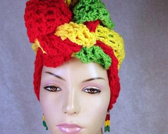African Head Wrap headband rasta rasta colors head wraps hair wraps hair cover boho chic hippie turban urban fashion scarves tubes