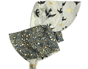 UB2 KOURA golden-winged birds and a midwest prairie meadow blend beautifully on this summer baby sun hat sun bonnet, by Urban Baby Bonnets