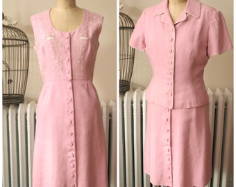 Rosa | Vintage 1960's Dress Pink Linen Button Front Shift Dress with White Embroidery Matching Short Sleeve Jacket with Piping 2 Piece Set