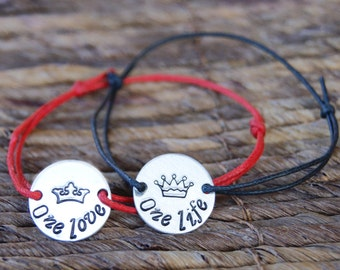 Set of Two, Couple Bracelets, Engraved Bracelet, Coin, Aluminum, One Life, One Love Bracelet, Crown, Cord, Gift for Him, Gift for Her