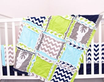 Woodland Crib Set - Lime / Gray / Navy / Turquoise Bedding - Hunting Baby Bedding- Deer Crib Set- Crib Size Rag Quilt/ Sheet/ Bumpers/ Skirt
