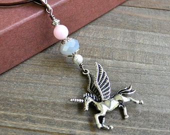 As Seen On Actor Alexander Polinsky Silver Unicorn Fantasy Crystal Unicorn Necklace, Unisex Silver Unicorn Necklace, Unicorn Jewelry