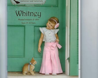 Girls Sewing Pattern Violette Field Threads Whitney Pleated Trousers and Skirt with Side Bow Boutique Size 2T 3T 4T 5 6 7 8 10 UNCUT