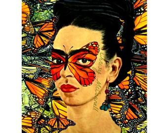 Frida Kahlo Monarch Butterfly Poster Print Instant Digital Download Boho Modern Home Decor Orange Black White Yellow Art Mexican Butterflies