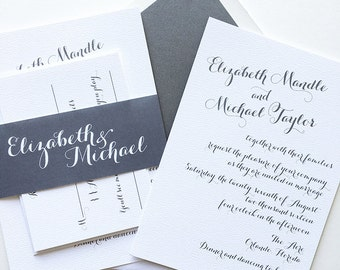 Gray Wedding Invitation - Modern Wedding Invite