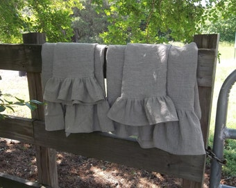 Ruffled Linen Towels Linen Bath Towels Hand Towels Tea Towels Wedding Gift French Country Handmade Bath Décor  4 Pieces